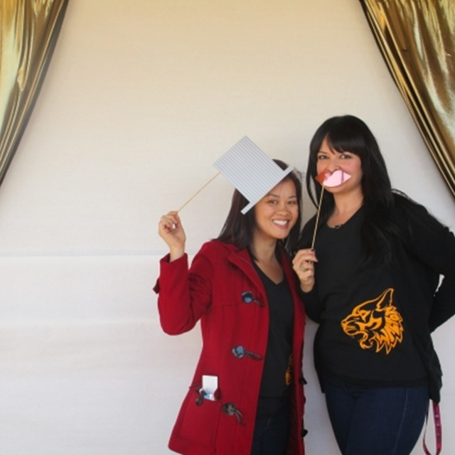 Mrs. Nguyen and Ms. Navarro have a silly photoshoot.