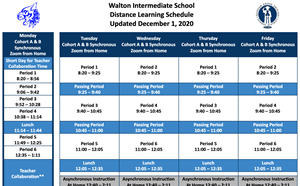 Walton Distance Learning Schedule Dec 1, 2020 - article thumnail image