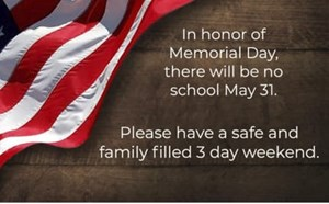 No School Monday in Honor of Memorial Day - article thumnail image
